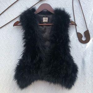 Haute Hippie Maribou Feather Black Cropped Vest